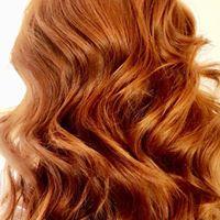 Auburn wavy hair
